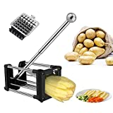 Potato Chipper, French Fry Cutter, Potato Chopper Cutter with 2 Different Size Super Stainless Steel Sharp Replacement Blades and Non-Slip Feet, Perfect for Potatos, Carrots, Cucumbers