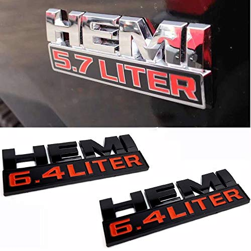 WXQY 3D Metall Auto Seite Emblem Abzeichen, Auto Abzeichen Emblem Aufkleber, 5.7 Liter HEMI Logo Geeignet für Jeep Dodge Challenger RAM 1500 2500 3500 Auto Styling