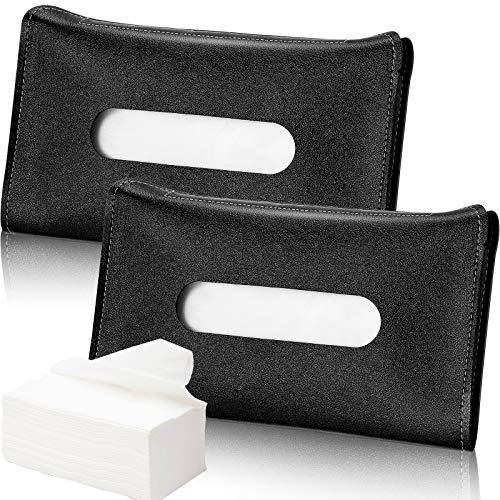 Frienda 2 Pieces Car Tissue Holder Visor Mask Holder Sun Visor Napkin Holder, PU Leather Tissues Box, Car Visor Tissue Paper Storage Cases for Vehicle Auto (Black)