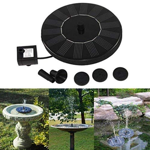 Solar Powered Bird Bath Fountain Pump 1.4W Solar Panel Water Floating Pump Kit with Spraying Nozzle for Pond Fountains Ponds Waterfalls etc for Pond Pool and Garden Decoration (Black)