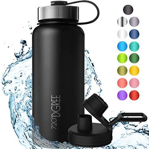 """720°DGREE Edelstahl Trinkflasche """"noLimit"""" – 950ml - Auslaufsicher, Kohlensäure geeignet, BPA-Frei - Isolierflasche mit Schraubverschluss für Sport, Fitness, Outdoor +Gratis Sportdeckel"""