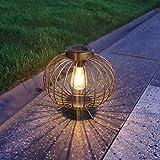 "Solar Lantern Outdoor, pearlstar Metal Solar Light with Base Waterproof for Garden Yard Patio Pathway Decoration - 8"" Solar Table Lamp - Hanging Solar Light (Copper)"