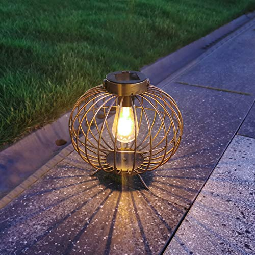 """Solar Lanterns Outdoor Hanging Light, 8"""" Metal Outside Solar Table Lamp with Base Waterproof for Tabletop Patio Garden Proch Yard Decor (Copper)"""