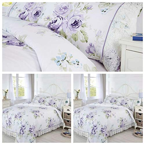 Bedding Heaven EVELYN Vintage Floral Duvet Cover Set with Lace Trim. LILAC (DOUBLE)