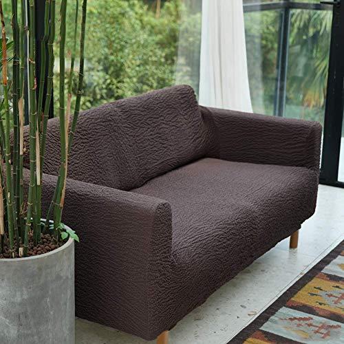 XHNXHN Funda de sofá elástica Jacquard para Perros, Funda de sofá Antideslizante para sofá de 3 Cojines, sillón de Dos plazas, Funda reclinable, Protector Duradero para Muebles, marrón sin Brazos /