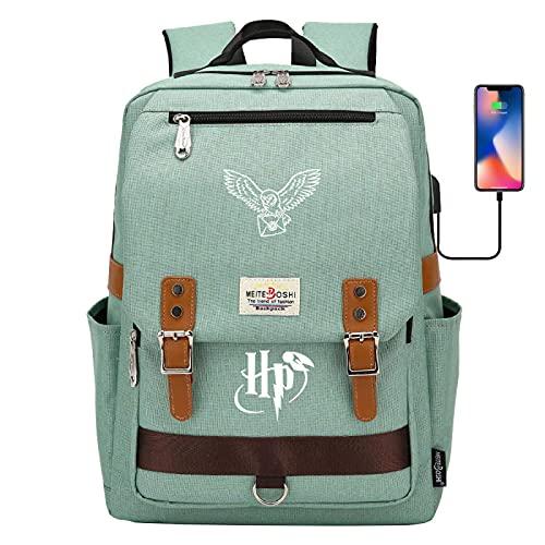 YEE Hedwig Owl Mochila, Mensajero Lindo Hedwig Bolsa de Libros Impresos, Mochila HikingruckSack, Bolsa de Aprendizaje de Estudiantes (Color : Green, Size : 42CMX30CMX16CM)