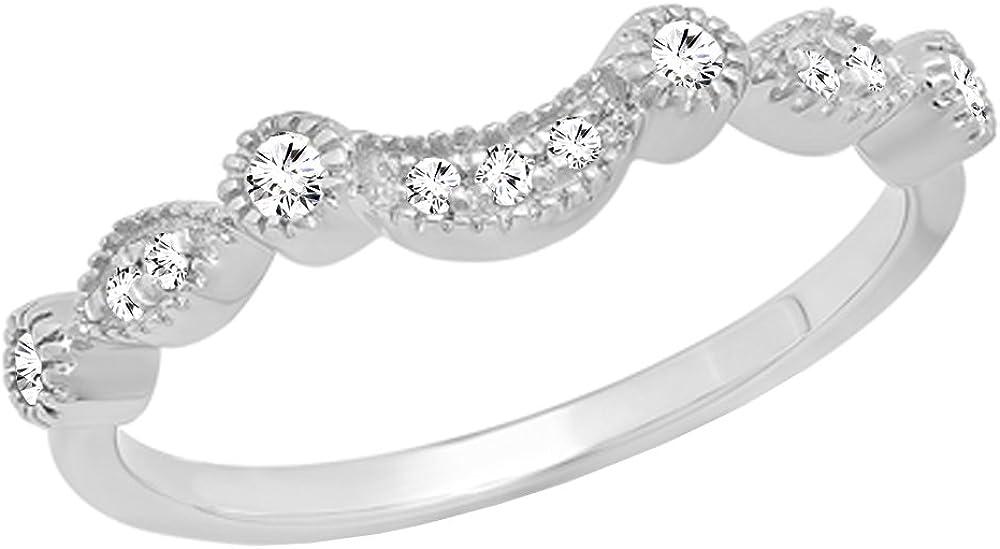 Dazzlingrock Collection 0.15 Carat (ctw) 14K Gold Round Cut Diamond Ladies Anniversary Wedding Stackable Contour Guard Band