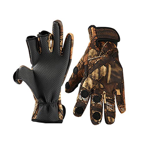 Fishing Gloves Winter Warm Fingerless Mittens for Men Cold Weather Insulated Water Fingerless Gloves Velcro Convertible Windproof Force for Ice Fishing Photography Construction Outdoor Sports