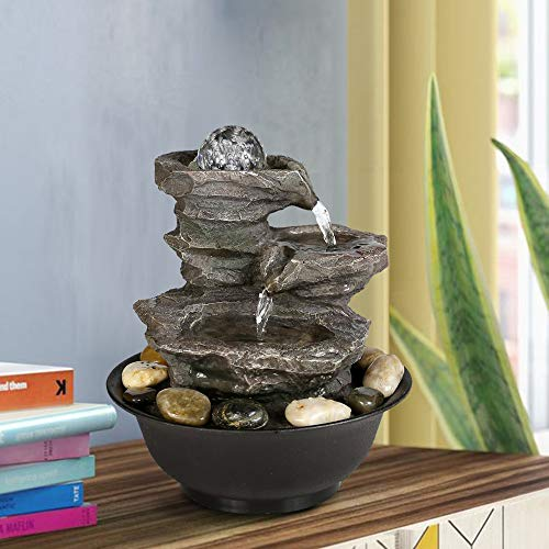 BBabe 3 Tier Rock Fall Tabletop Zen Fountain 11 2/5', Feng Shui Meditation Waterfall Fountain with Crystal Ball Accent and LED Light for Indoor Home Office Decoration