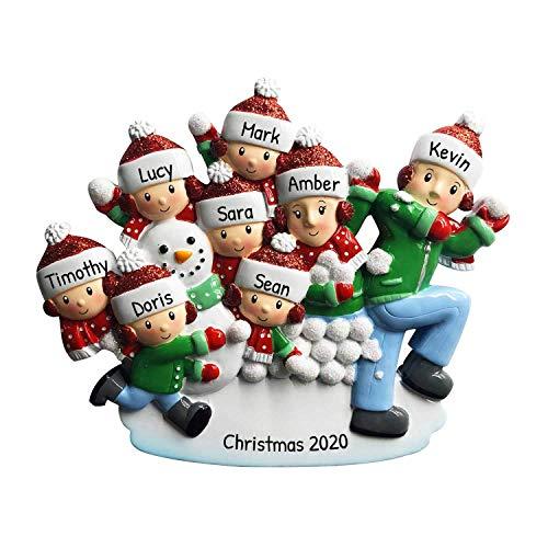 Adorno para árbol de Navidad con diseño de familia de bolas de nieve de 20,32 cm para madres, padres e hijos, gorro de invierno, para jugar con muñeco de nieve, para actividades...