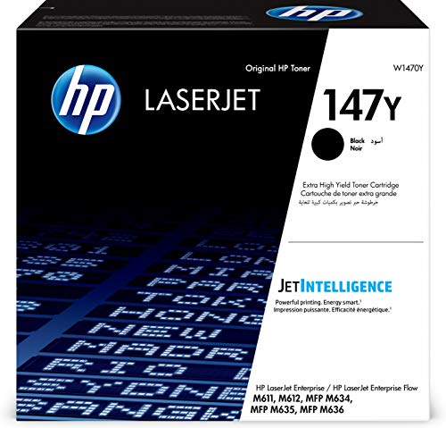 HP 147Y (W1470Y) Schwarz Original Toner mit extra hoher Reichweite für HP LaserJet Enterprise M611, M612, M635, M638