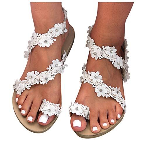 Eduavar Sandals for Women Casual Summer Sale Womens Rhinestone Flat Sandals Crystal Flip Flops Jeweled Beach Sandals Boho Shoes White