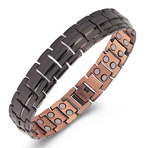 Gioieiieria Men Copper Bracelet Magnetic Therapy Bracelet for Relieve Arthritis Pain 99.9% Copper Bracelet with Double Raw 3500 Gauss Strong Magnets 9' Link Adjustable