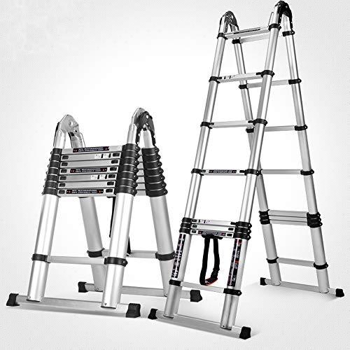 Qi Peng Alle aluminium legering verdikking lift multifunctionele vouwen ladder huishoudelijke ladder engineering ladder, vier gaten positionering stabiel, draaggewicht 150kg Huishouden massief hout stappen