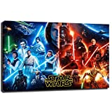 Star Wars Poster Lightsaber Mural Canvas Art HD Picture Print Wall Decoration Office Modern Home Decoration (24x36inch-Wooden Frame,A)
