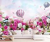 Papel de parede 3D Tv Wall Decor Stickerr Pink Rose Hot Air Balloon Borboleta Romance Adesivos de parede modernos para decoração de quarto