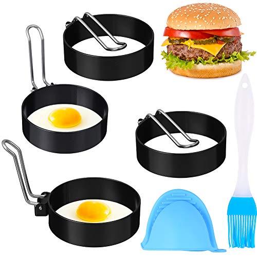Opopark 4 Piezas Anillo de Huevo, Moldes para Huevos Antiadherentes de Acero Inoxidable, Anillos para Cocinar para Sartén Viene con Pinceles y Clip de Mano