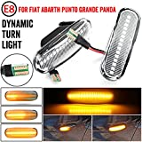 MKptopia luz de señal de giro LED lámpara de marcador de guardabarros lateral dinámico para Fiat Doblo Panda Idea Stilo Fiorino Multipla Punto Qubo Linea Musa-Blanco cristal