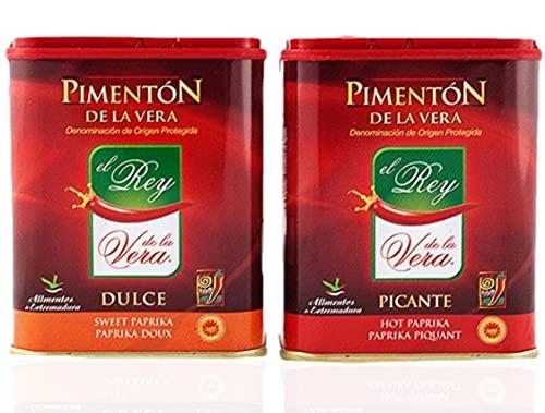 Artisan Spanish smoked paprika, Pimenton from La Vera region. Hot and Sweet. Set of 2 tins.