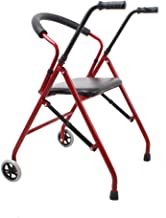 Foldable Elderly Walking Chair with Walking Wheel, Seat Anti-Slip Solid Foot Pad, Suitable for Middle-Aged And Elderly,Red