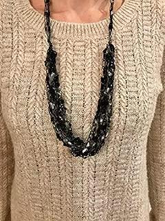 Handmade Yarn Necklace Scarf Crochet Fabric Adjustable Times Up Black Silver