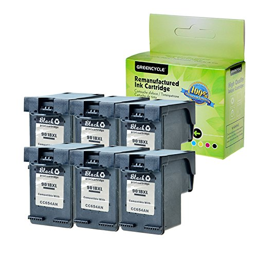 GREENCYCLE 6 PK Remanufactured 901XL 901 XL Black High Yield Ink Cartridge CZ075FN CC654AN Compatible for HP Officejet 4500 J4540 J4550 J4580 J4680 J4500 J4524 J4624 J4640 J4660 J4680C Inkjet Printers