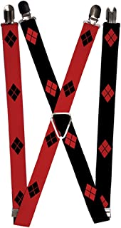 Buckle-Down Suspenders - Harley Quinn Diamonds Red/black + Black/red Accessory
