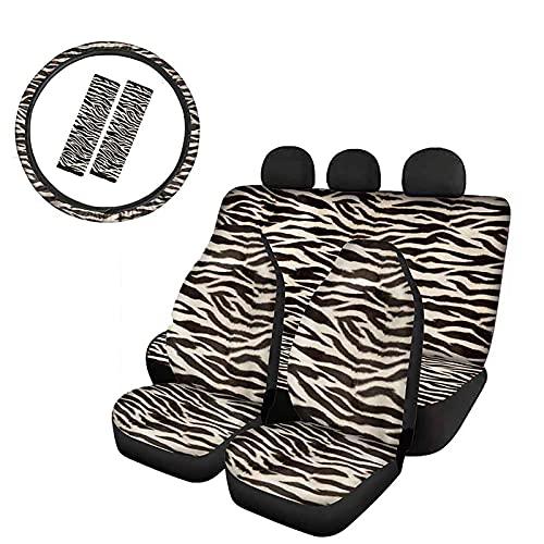 UOIMAG Zebra Print Fundas de asiento de coche, cubierta del volante, almohadillas para cinturón de seguridad, accesorios universales para interiores de auto Set de 7 piezas
