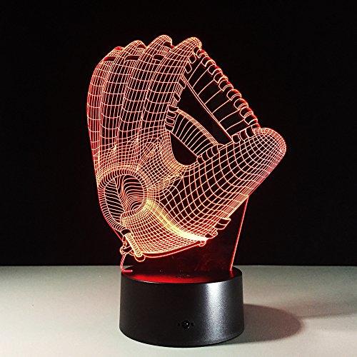Toque Color luz de la Noche atmósfera lámpara Guante de béisbol acrílico...