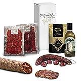 GOURMET BOX | Cesta Gourmet Regalo con Productos Ibéricos Delicatessen | Chorizo Iberico, Picos Artesanos y Aceite de Oliva Virgen Extra | Cesta de Navidad