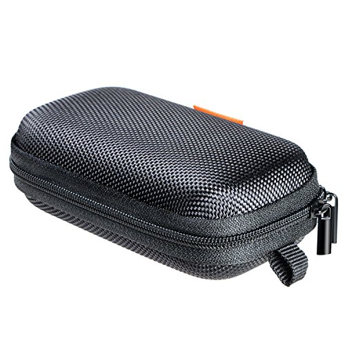 GLCON Rectangle Shaped Portable Protection Hard EVA Case,Mesh Inner Pocket,Zipper Enclosure Durable Exterior,Lightweight Universal Carrying Bag Wired/Bluetooth Headset Charger Change Purse (Black)