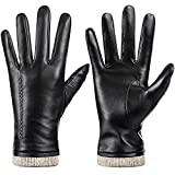 Womens Winter Genuine Sheepskin Leather Gloves, Warm Touchscreen Texting Cashmere Lined Driving Motorcycle Dress Gloves (Black, M)
