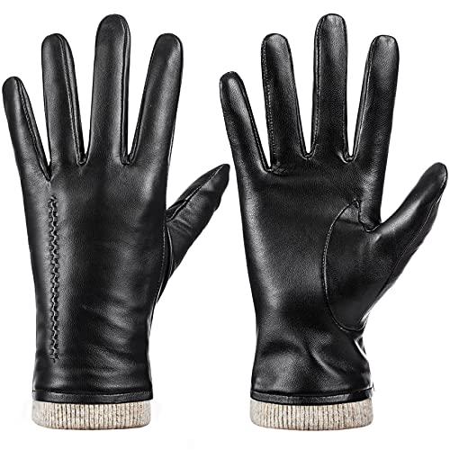 Womens Winter Genuine Sheepskin Leather Gloves,...