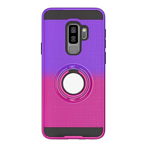 Galaxy S9 Plus Case, The Grafu 360° Rotation Ring Kickstand Cover for Samsung Galaxy S9 Plus, Dual Layer Protective Cover with Shock Absorption, Purple + Rose Red