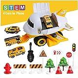 Sendida Transport Airplane Car Toys Cargo - STEM Game Car Toys for 3 Year Old Boys (Yellow)