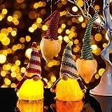 4 Gnomos Iluminados Muñeco de Peluche de Santa Gnomo Sueco con LED Adorno de Árbol de Navidad de Colgante sin Cara Pequeña Decoración de Elfo para Fiesta de Vacación Manualidades DIY Casa