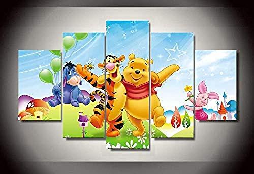 LVQIANHOME Leinwanddrucke Drucke Auf Leinwand Hd Gedruckt Cartoon Winnie The Pooh Malerei Leinwanddruck Raumdekor Poster Drucken Bild Leinwand-Rahmenlos