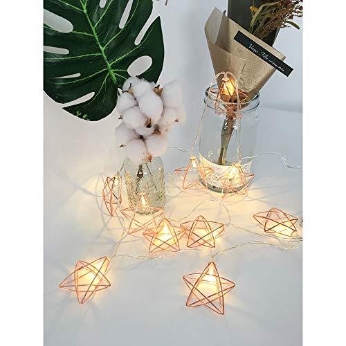 Guirlande Décorative Lumineuse - Design en forme de Lanterne Etoile (Couleur Or Rose) - Éclairage LED Blanc Chaud sur Câble Transparent Flexible à Piles 3 Mètre 20LED