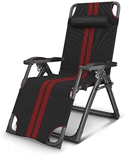 Aoyo Liegesessel, Sessel, Schwerkraftklappstühle Zero Deck Stühle Liegestuhl Für Strandpatio Garten Outdoor Camping Deck (Color : Black and Red)