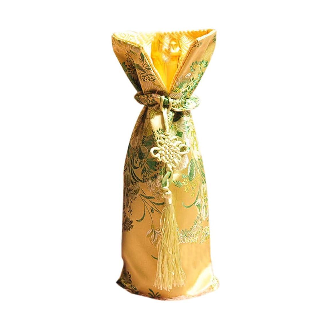 リットル理解ぬいぐるみシャンパンボトルバッグ和風/中華風黄色装飾ワインボトルカバー