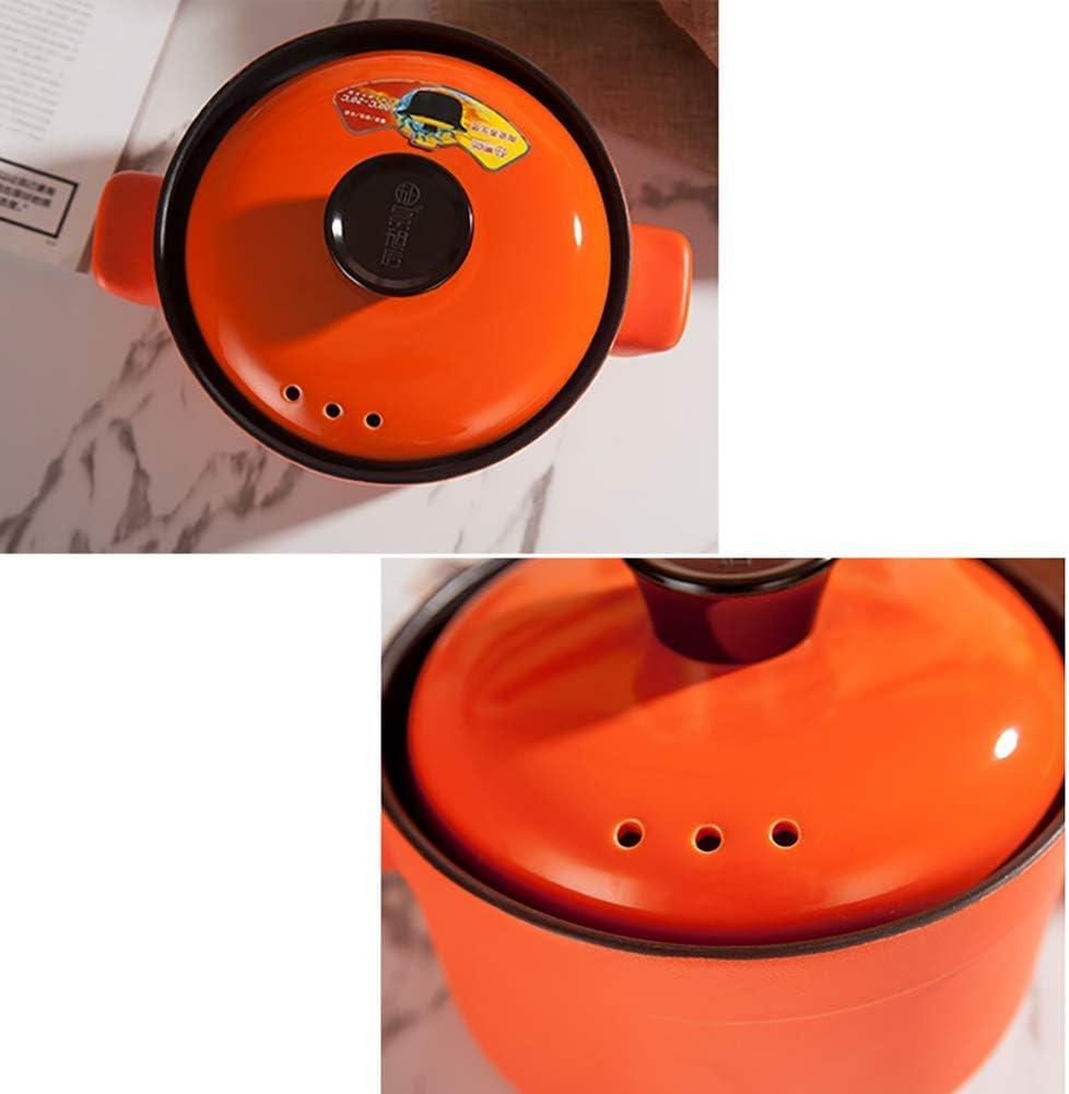 LIUSHI Marmite Ronde en céramique antiadhésive Casserole Monochrome Casserole Bibimbap Soupe à l'oignon Casserole à ragoût avec Couvercle Poêle santé Orange 2,64 Quart 2.64quart
