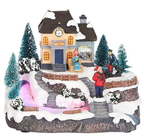 MIJOMA - Decorazione natalizia con illuminazione e movimento (stazione di villaggio di Natale)