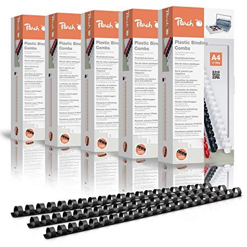 Peach PB412-02P - Canutillos de plástico (DIN A4, 12 mm, 95 hojas, 500 unidades), color negro