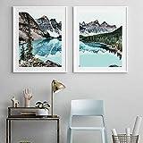 pktmbttoveuhgf Moderna montaña, Nieve, Lago, Bosque, Paisaje Natural, Lienzo, Pintura artística, póster de decoración del hogar e Imagen Impresa para Sala de Estar