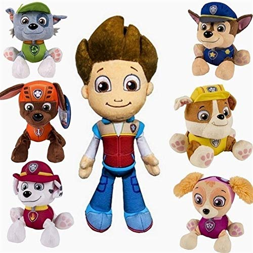 7pcs / Lot Juguetes de la Pata de los niños Juguetes Juguetes Patrulla Canina Cachorro Patrulla Perros con Placa Figuras de acción de la muñeca de cumpleaños Movable articulaciones