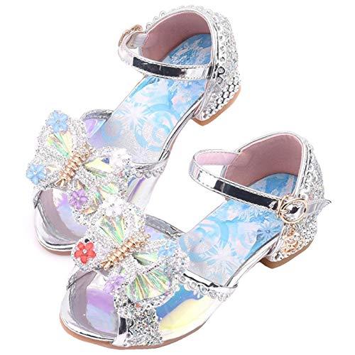 LCXYYY Sandalias Zapatos de Tango Latino para Nios Arco Zapatos de la Princesa Elsa nias Zapato de Disfraz Beb Nia Primavera Verano Zapatillas de Baile Nias EU26-37