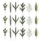 Supvox 18 piezas de ramas de abeto artificiales, plantas verdes, agujas de abeto, accesorios DIY para guirnalda, corona de Navidad, decoración de Navidad