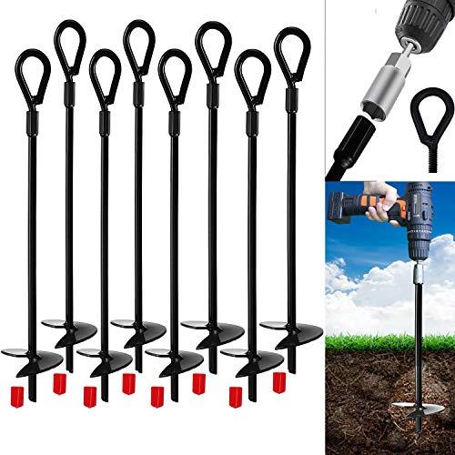 Jayzod Earth Ground Anchor 38 cm Hochleistungs-Erdschneckenschutz, Überdachungen, Zelte, Schaukelsets, Trampolin, 8er-Pack, Adapter Nicht im Lieferumfang enthalten