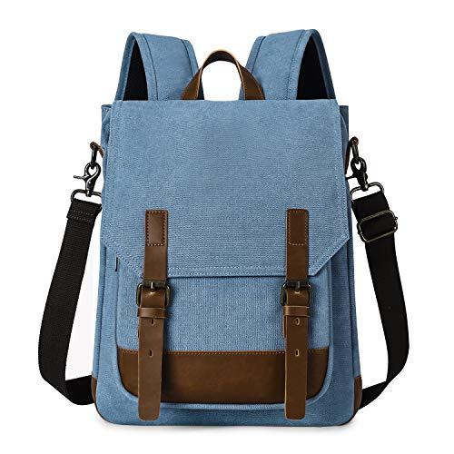 TAK 2 IN 1 Dagrugzak, schoudertas, canvas met laptopvak voor universiteit en kantoor en dagelijks gebruik, 15 inch, retro