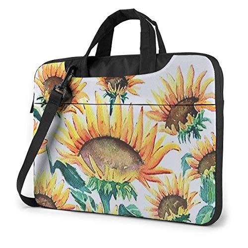 Bolso para portátil con Flor de Sol en Acuarela, maletín a Prueba de Golpes, Bolso de Mano para Tableta, para Viaje de Negocios, Oficina de 14 Pulgadas